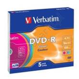 Verbatim DVD-R 4.7GB 16x Colour Slim Case 5 szt. - 43557