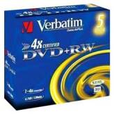 Verbatim DVD+RW 4.7GB 4x Advanced SERL Jewel Case 5 szt. - 43229